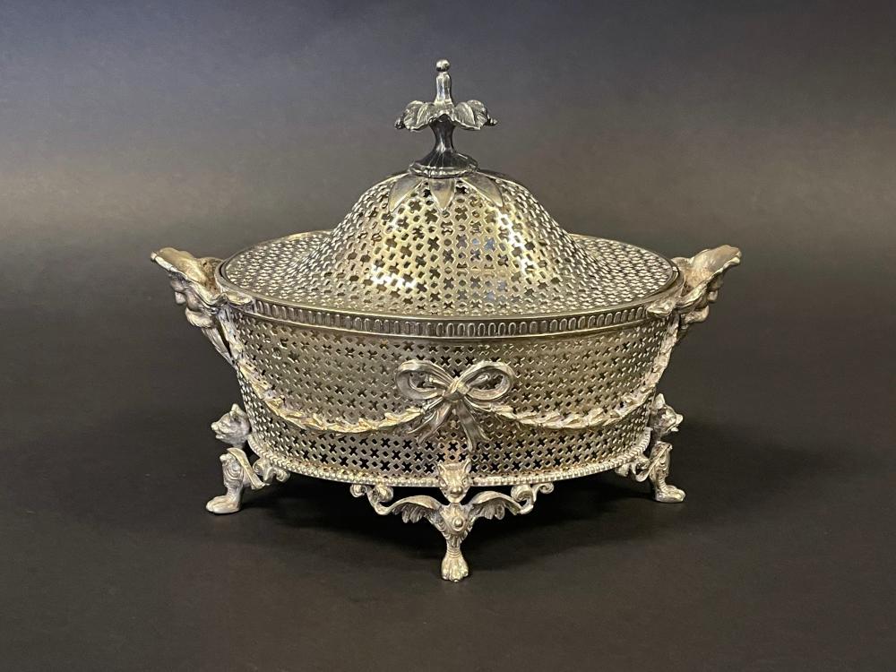 Antique silver plate casket form potpourri, approx 14cm H x 19cm W