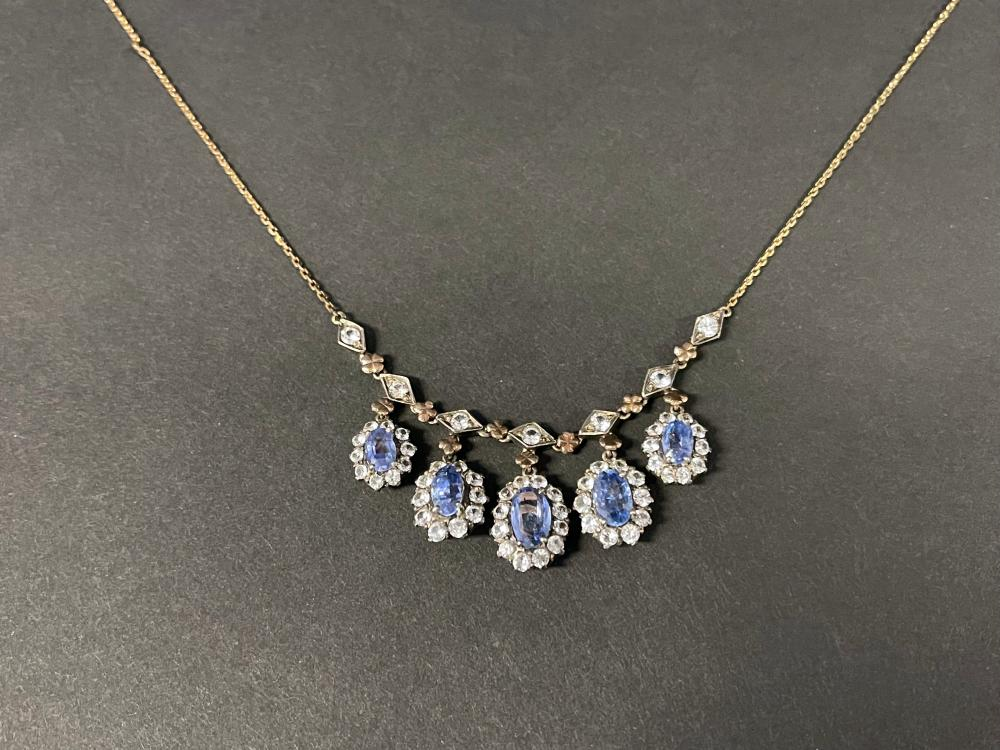 Antique blue and white sapphire and rose gold necklet, no markings