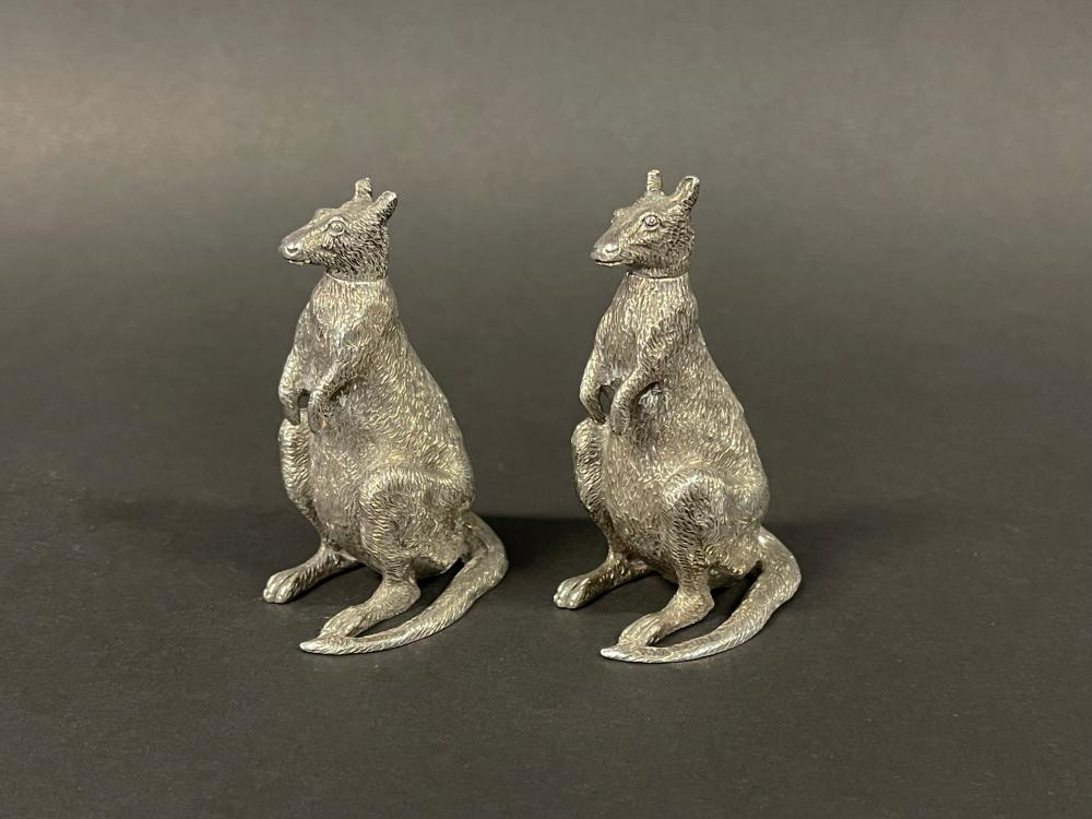 Rare pair of novelty sterling silver miniature seated kangaroo pepper pots, with detachable heads, marked 925 R.M (2) 7 cm high each approx