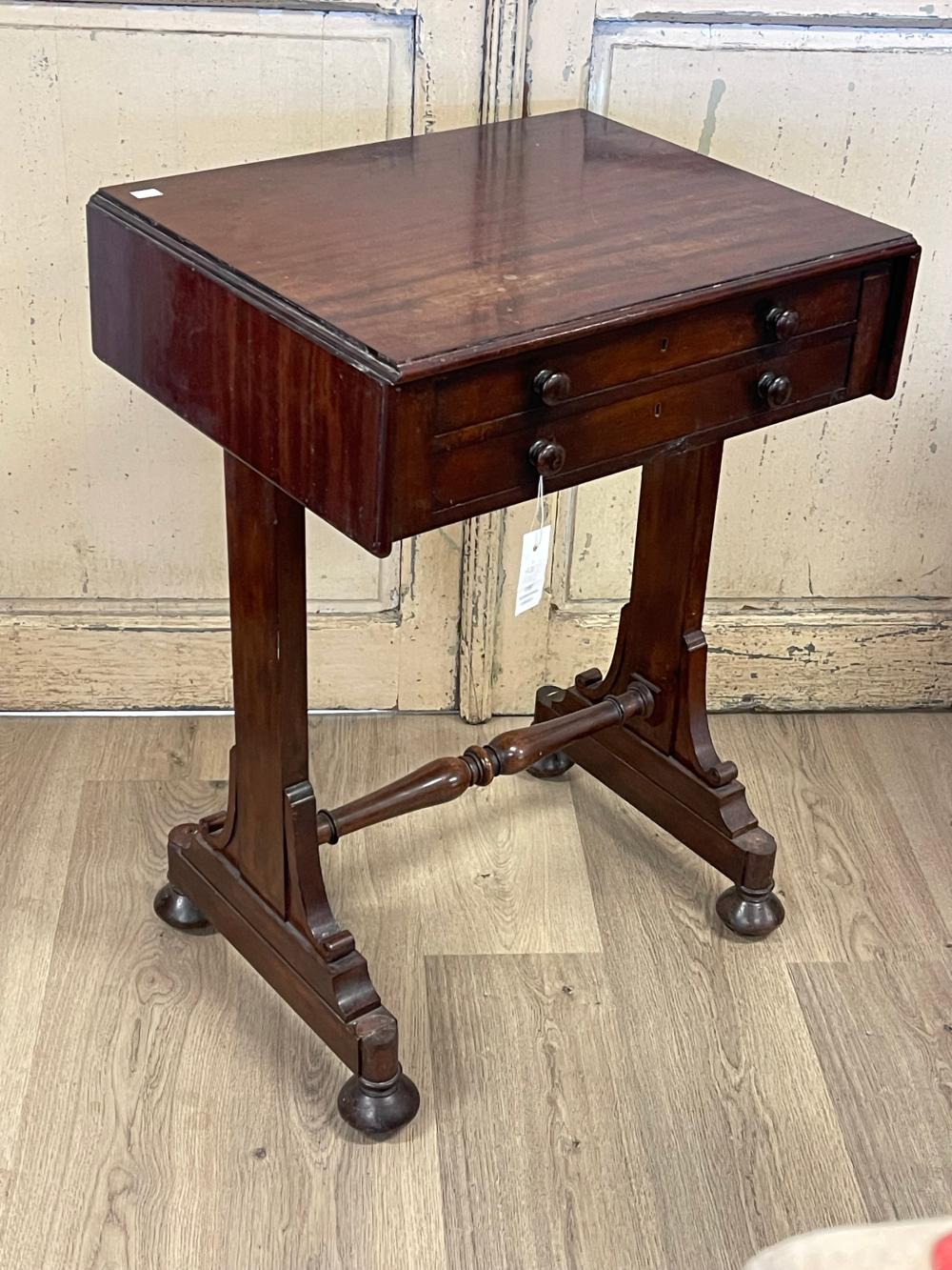 Antique 19th century mahogany work table with two drawers and two false drawers, approx 79cm H x 57cm W x 46cm D