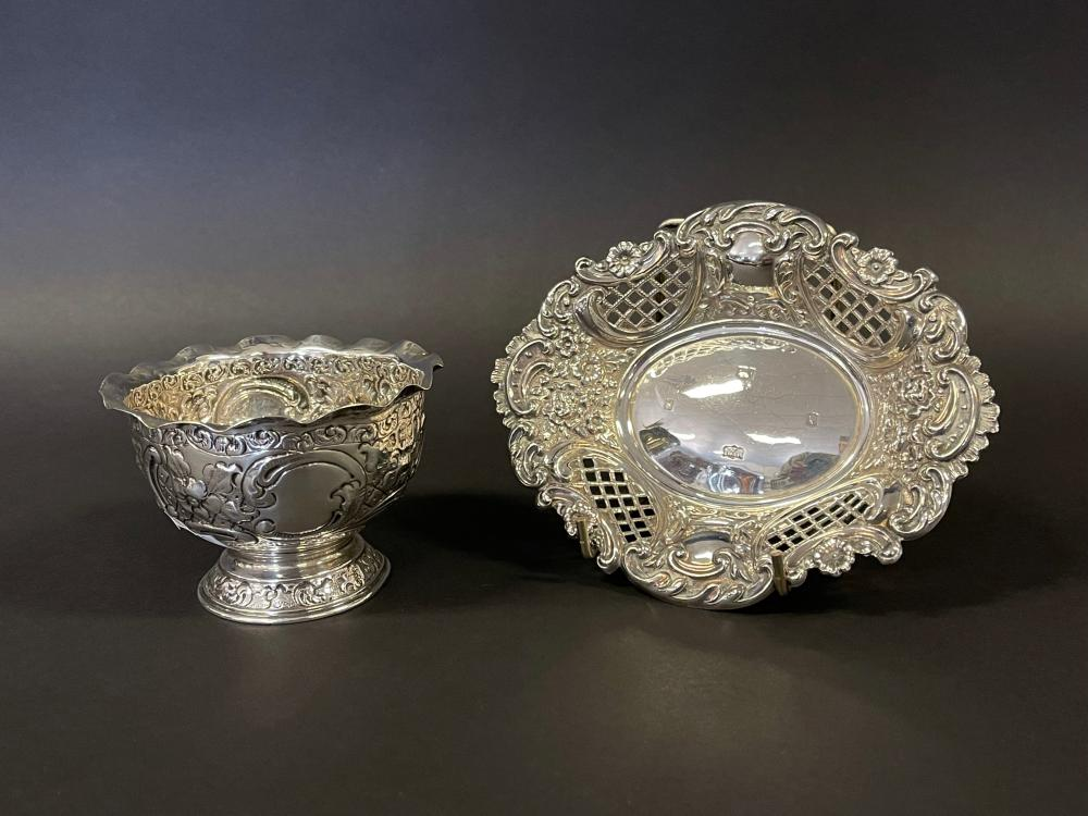 Sterling silver hallmarked English silver repousse bowl and pierced nut dish, approx 15cm W & smaller (2)