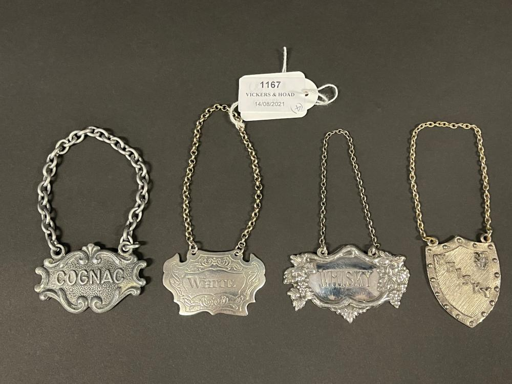 Four assorted decanter labels, Whiskey, White, Congac (4)