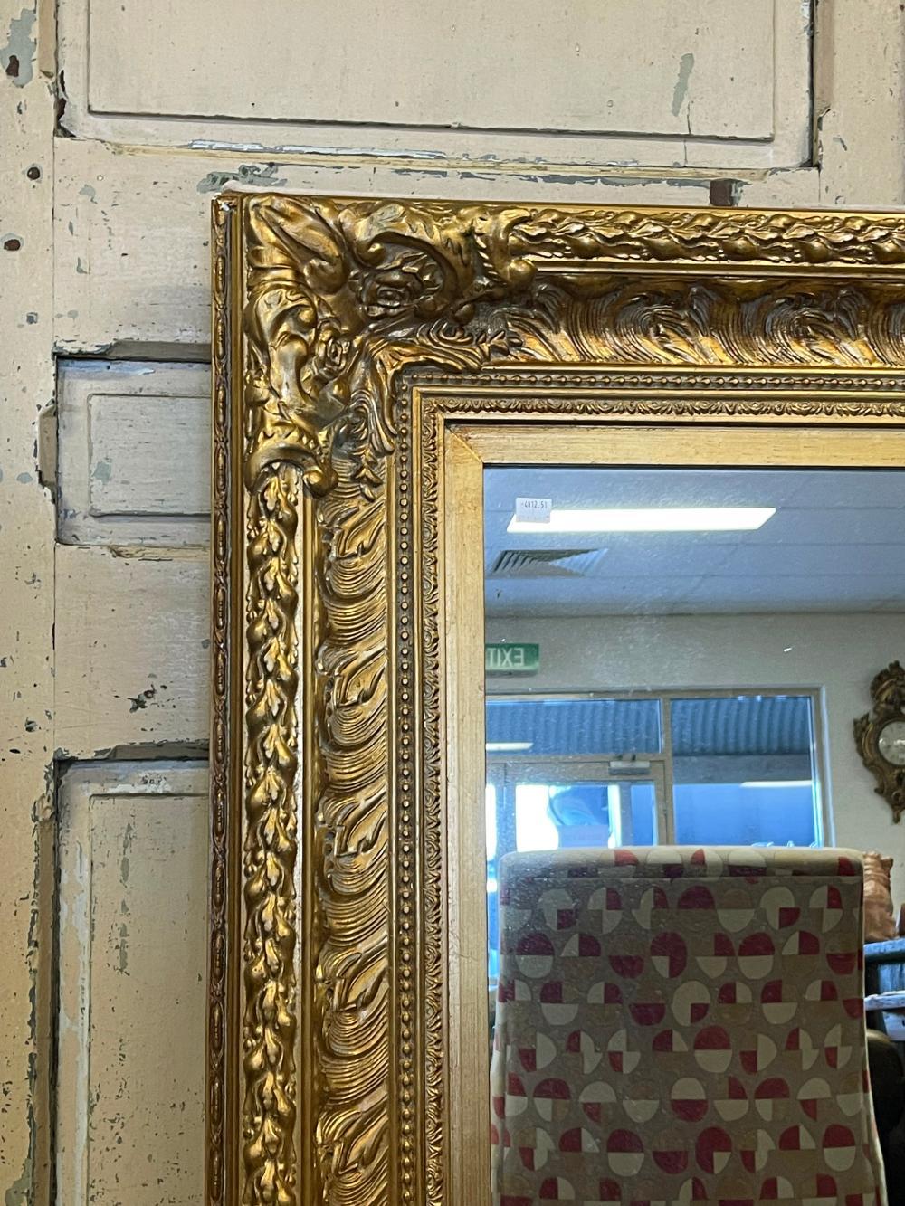 Decorative gilt surround wall mirror, approx 123cm x 92cm