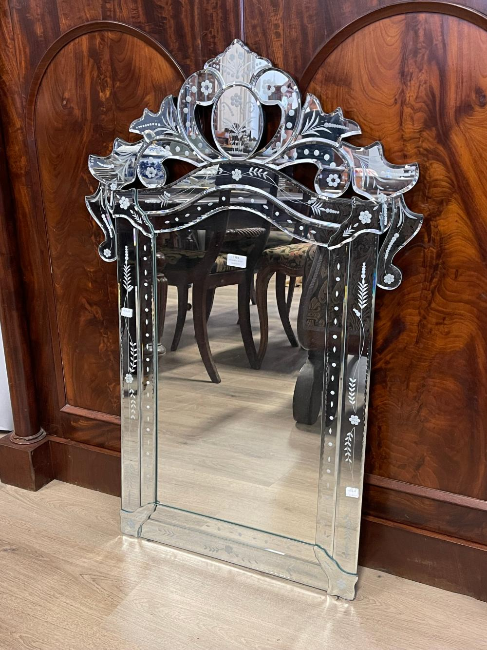 Venetian style shaped surround wall mirror, approx 103cm x 69cm