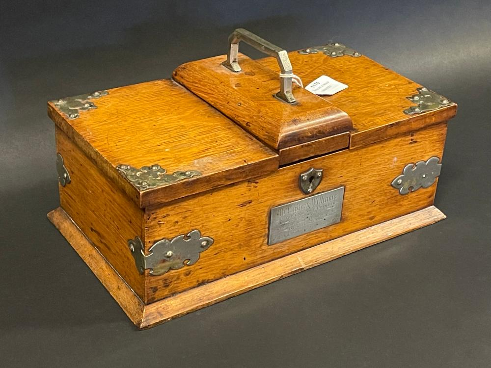 Victorian oak silver plate mounted stationery box of Boxer Rebellion and Australian interest,