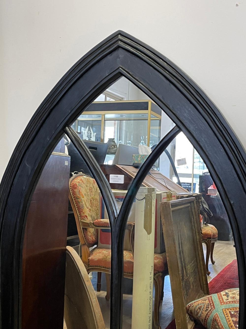 Black lacquer Gothic mirror, approx 122cm H x 80cm W