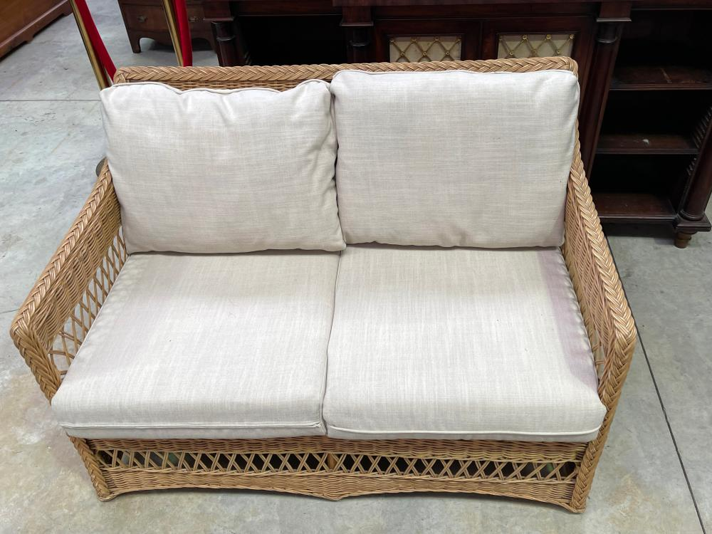 Modern cane two seater settee, approx 125cm W (clean)