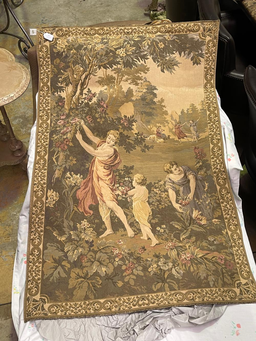 French style wall tapestry, approx 138cm x 90cm