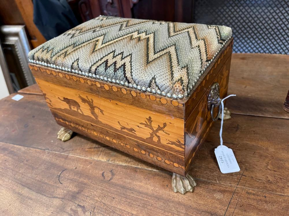 Antique inlaid rectangular foot stool, with lions mask drop ring handles, all on hairy paw brass feet, approx 18cm H x 28cm W x 20cm D