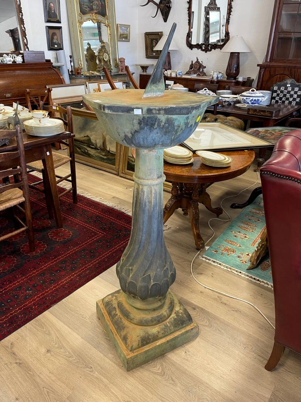 Large size bronze pedestal sun dial, hexagonal shaped top, fluted twist pedestal on a square base, approx 121 cm high