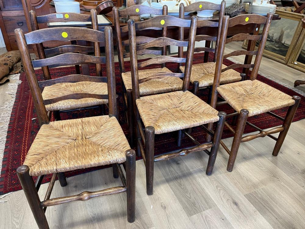 Set of six matched antique early 19th century English oak and elm ladder back rush seated country chairs (6)