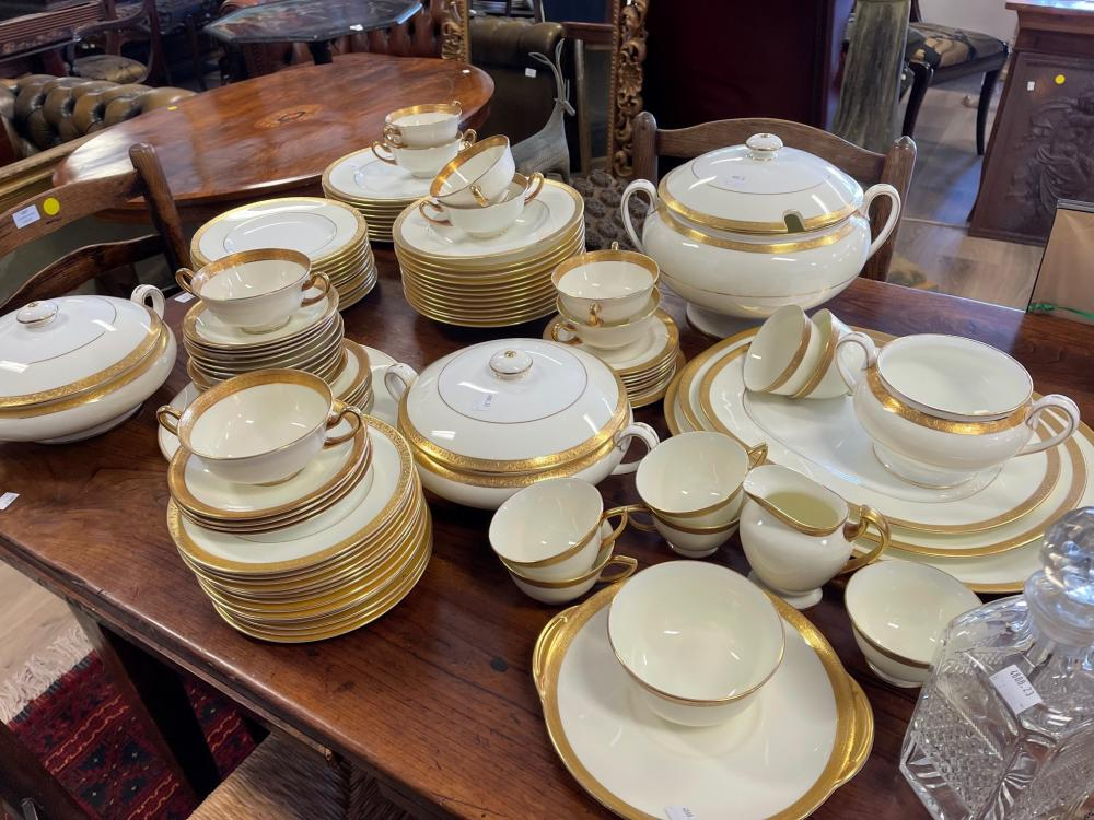 Extensive gold rimmed china service, mixed makers, Royal Doulton and mintons