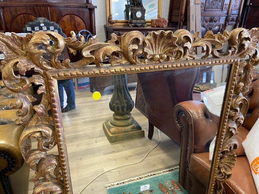 Antique Italian carved gilt wood Florentine mirror, approx 114 cm x 84 cm