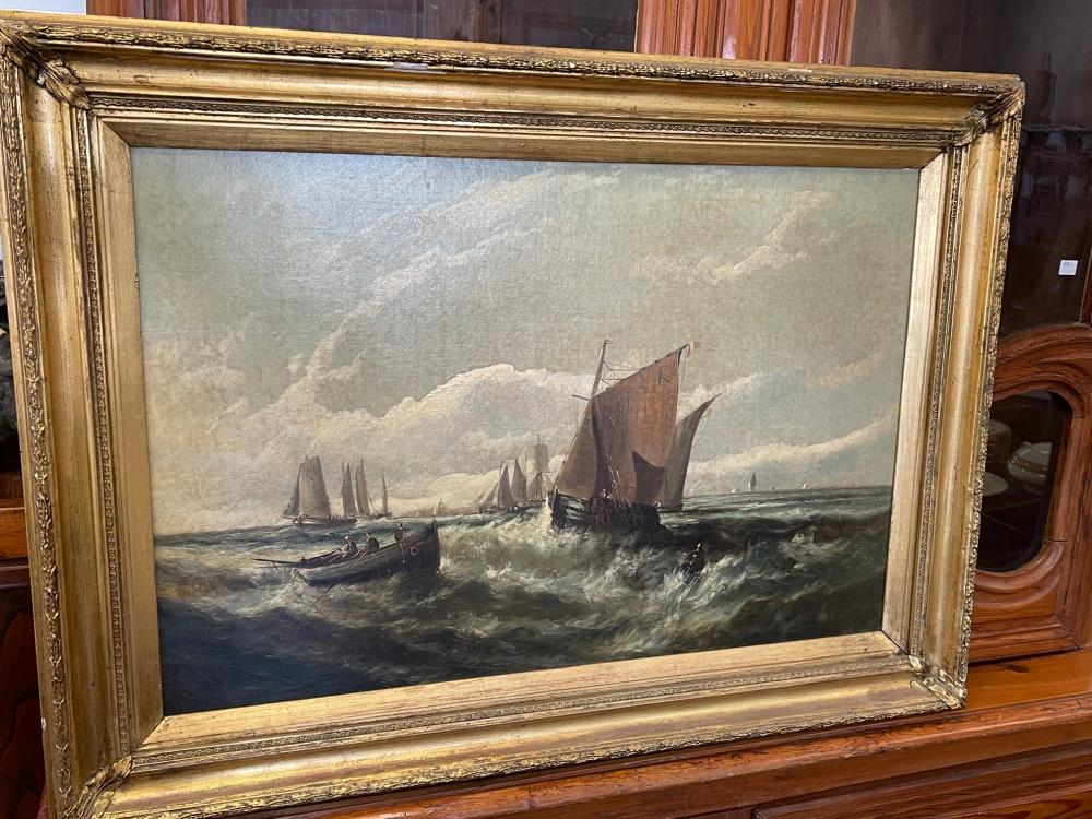 W. Byron (1860-1920) United States of America, Antique Marine painting, English fishing boats in choppy seas with distant harbour, signed lower left, approx 49.5 cm high x 75 cm