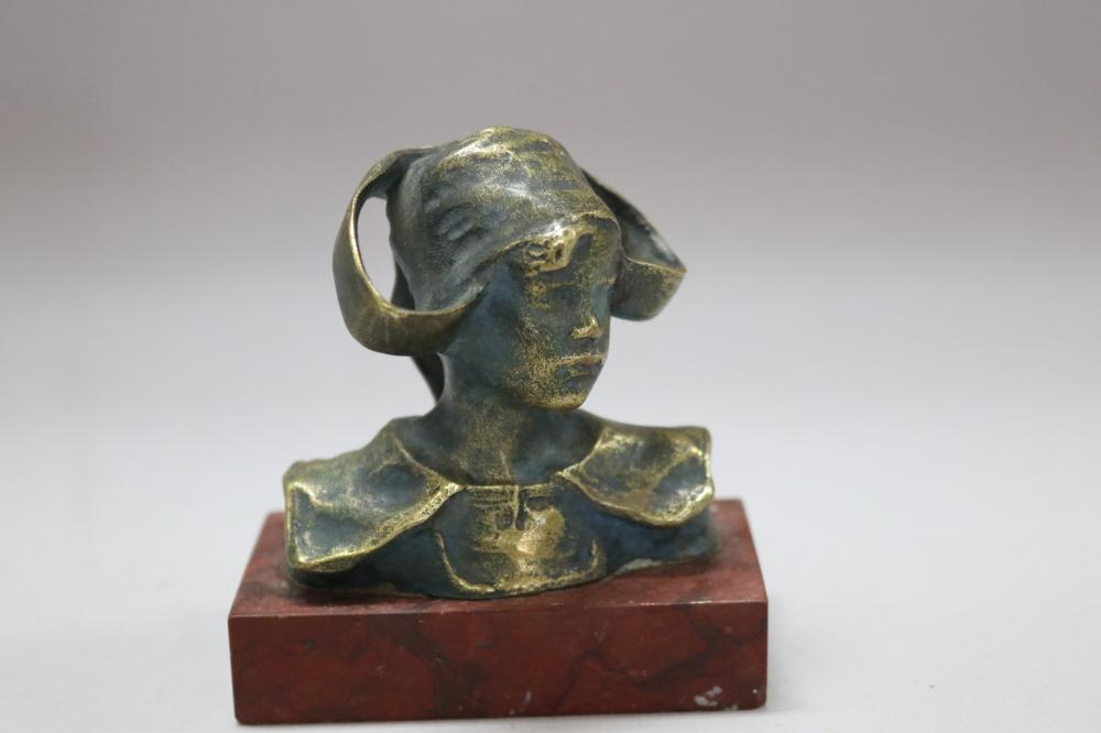 French bronze bust of a lady, mounted to rouge marble base, signed to back approx 8cm H