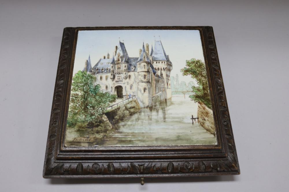 Antique French musical tiled set table plateau, painted with view of a Chateau, approx 6cm H x 27cm sq