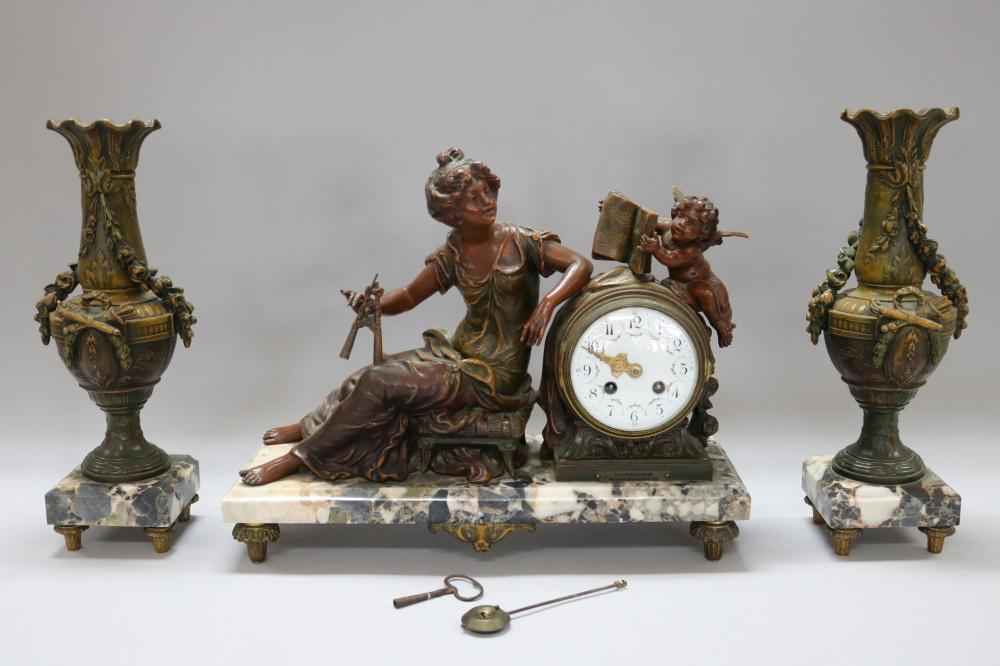 Antique French bronzed spelter figural Mantle clock and garnitures, with key and pendulum, unknown working order, clock approx 34cm H x 42cm W x 15cm D
