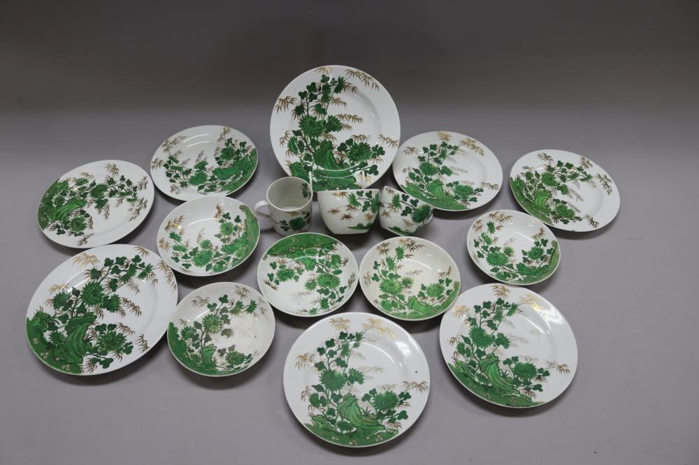 Antique English porcelain Spode bamboo & rock pattern (1653) plates, circa 1810. 16 pieces in all , to include a coffee can and two cups.
