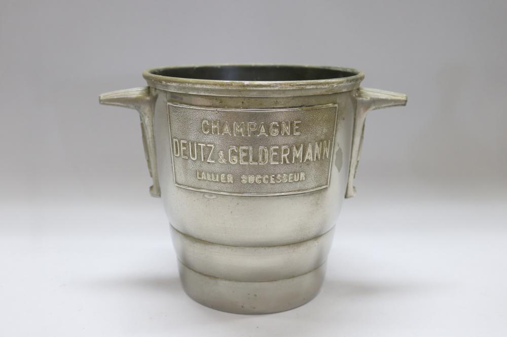Vintage French Art Deco Champagne bucket, Deutz & Geldermann, Stylised angular handles, stamped Made in France, approx 20cm H x 19cm dia