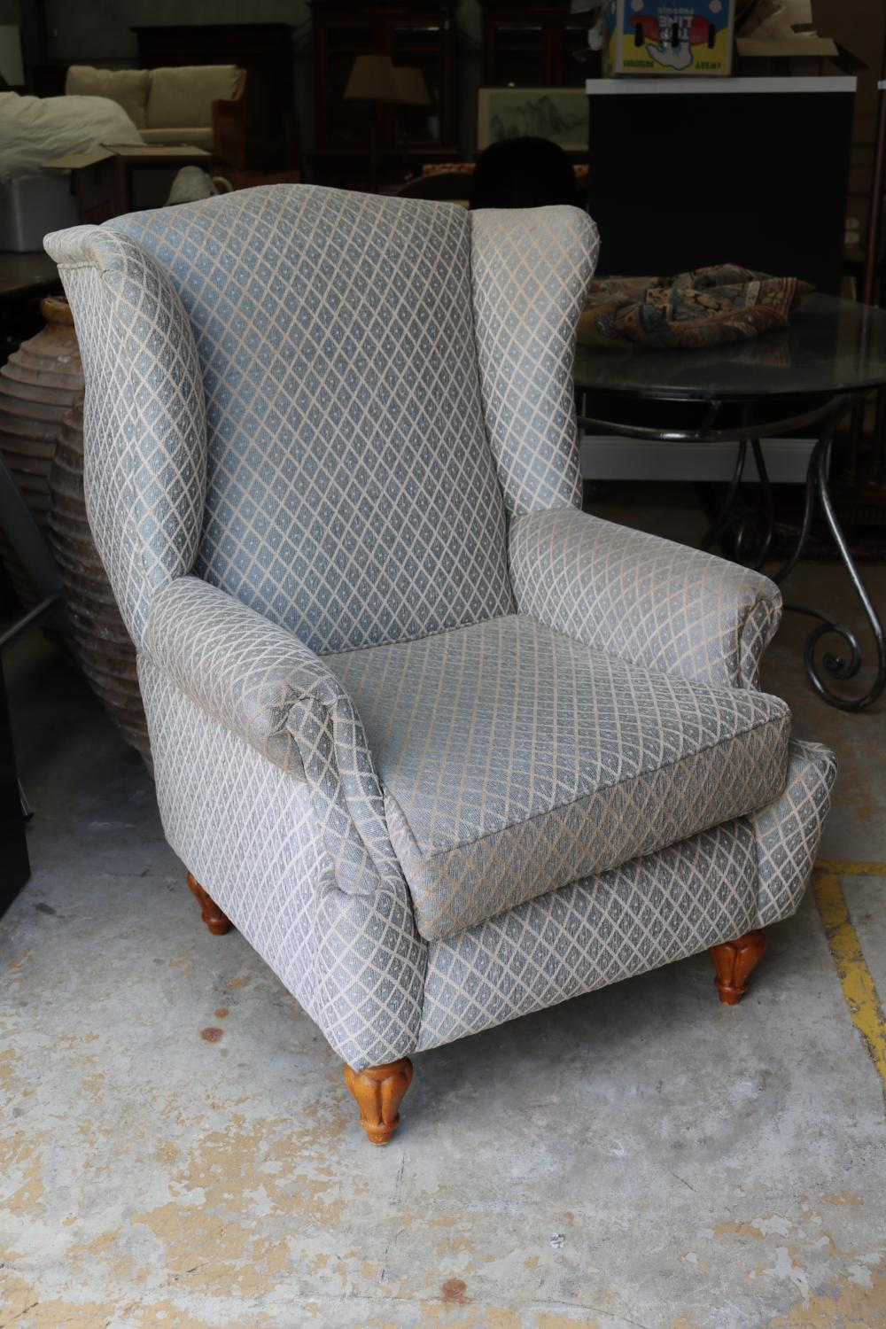 Modern upholstered wing back armchair, approx 104cm H x 78cm W