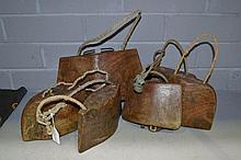 Six old wooden cowbells from Madura Island