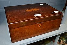 Mahogany inlaid box with fitted interior, approx