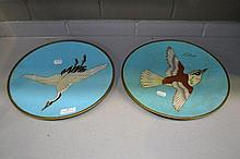 Pair of Japanese cloisonne wall chargers, bird