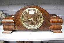 Vintage German Art Deco mantle clock with key