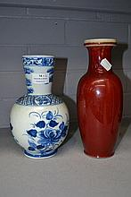 Two Chinese vases, one sang de Boeuf and the other