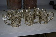 Six small metal tea glass holders (6)