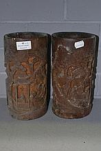 Pair of carved bamboo vases (2)