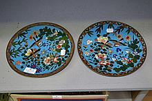Pair of Japanese cloisonne wall chargers, approx