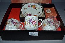 Boxed Royal Crown Derby, Derby Posies tea set