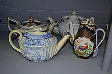 Three Antique porcelain teapots & a coffee pot (4)