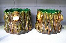 Pair of French majolica jardinieres in tree trunk ,