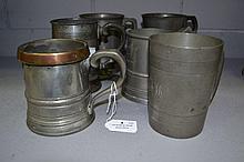 Six antique English pewter tankards (6)
