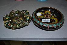 Cloisonné ash tray & bowl in black, approx 14.5cm