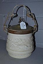Bisque biscuit barrel, approx 27cm H