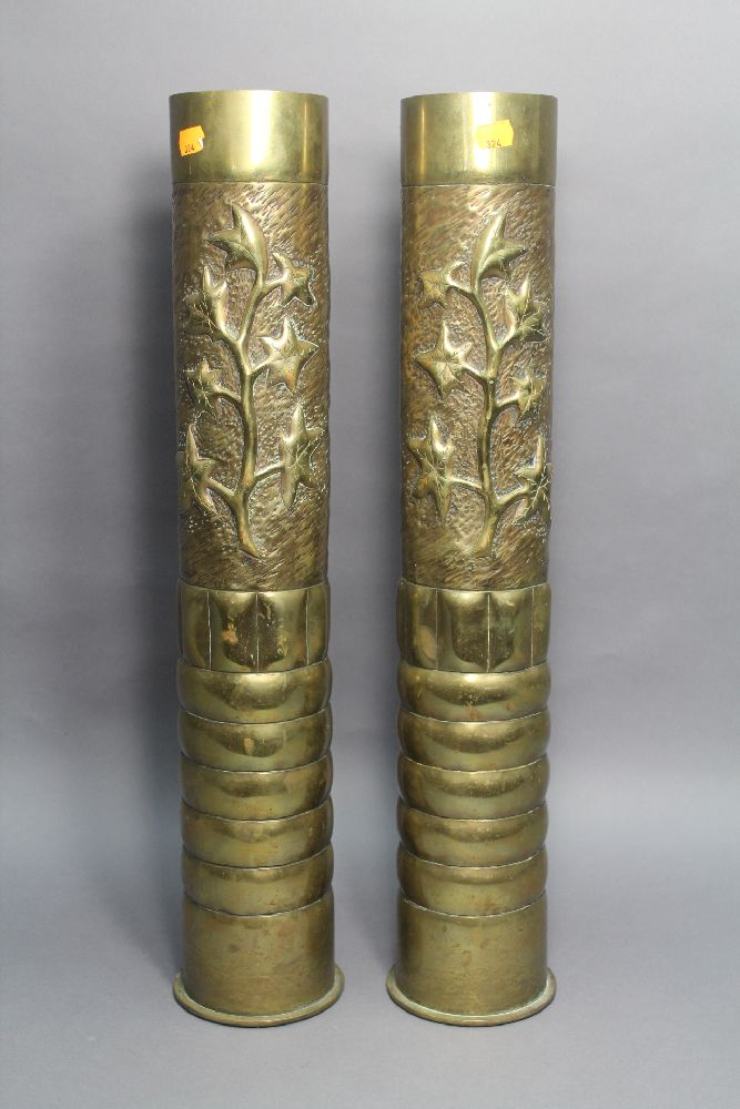 Pair of French brass trench art vases, each approx 65cm H (2)