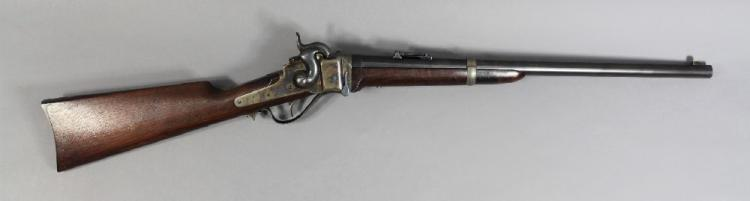 Antique US Sharps falling block saddle ring carbine in .52 calibre. Fine example. Serial no. C47778