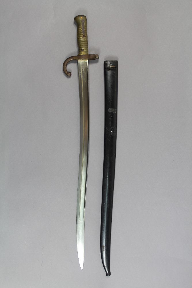 French M1866 bayonet and scabbard for the Chaseepot rifle, dated 1874. A superb example with matching number byt & scb.