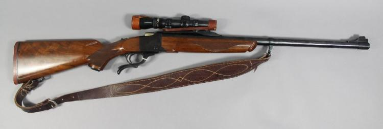 Ruger underlever single shot rifle in .375 H & H calibre. Fitted with Kahles Kelica telescopic sight. Serial no. 132-07922