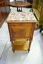 French walnut nightstand with marble top