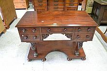 Antique English Mahogany knee hole desk, fitted