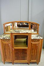French Walnut marble topped sideboard with central