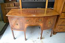 Fine inlaid Georgian style bow front sideboard,