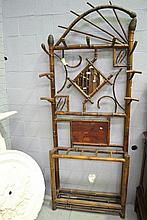 Antique French bamboo hallstand, approx 230cm H x