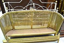 French Louis XVI style gilt painted and caned