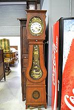 Antique French Comtoise clock with painted pine
