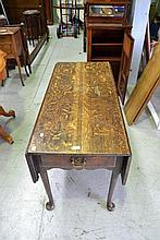 Antique English 18th century Oak six leg drop side